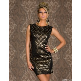Vestidos De Festa Women Sexy Sleeveless White and Black Gold Foil Bodycon Mini Dress Evening Party Dress 9054