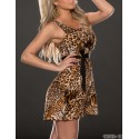 Vestidos De Festa Women Sleevelss Vintage Leopard Printed Big Swing Casual Dress  Sexy Mini Club Dress 9184