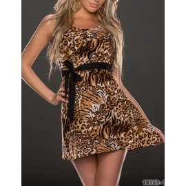 Vestidos De Festa Women Sleevelss Vintage Leopard Printed Big Swing Casual Dress  Sexy Mini Club Dress 9184