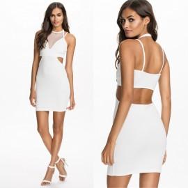 Vestidos Femininos Women Sexy White Black Mesh Mini Bodycon Bandage Dress Sexy Club Evening Party Dress HW0210