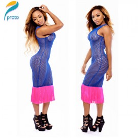 Vestido Sexy Transparent Women Tassel Bodycon Mesh Hollow Out Patchwork Club Dance Dress Casual Party  Dresses HW0238