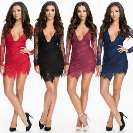 Vestidos De Festa Floral Lace Dress Long Sleeve Bodycon Bandage Dress Sexy Deep V Neck Casual Club Party Dresses HW0223