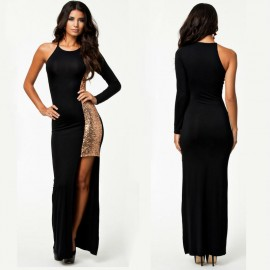 Women Fashion Party Dresses Black Sequin Insert One Shoulder Split Novelty Dresses Elegant Club Girl Bodycon Dress HW0247