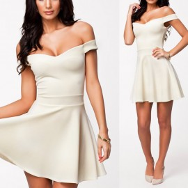 2014 New Summer Dress Off Shoulder Big Swing Basic Color Casual Skater Dress Pleated Women Vestidos Free Shipping 9081