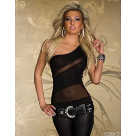 3 Colors   Fashion Women Sexy One Shoulder White and Black Patchwork Mesh Clubwear Tops 1381