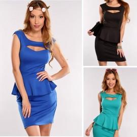 3 Colos M L XL Plus Size Dress   Fashion Women Sexy Hollow Out Chest Peplum Casual Dress Elegant OL Work Dress N119