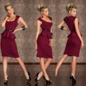 6 Colors   Summer Dress Women Clothing OL Business Work Wear Knee Length Peplum Dress Bodycon Midi Pencil Dress 9052