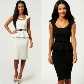 6 Colors   Summer Dress Women Knee Length Bodycon Peplum Dress with Belt OL Casual Career Dress Women Work Wear 9052