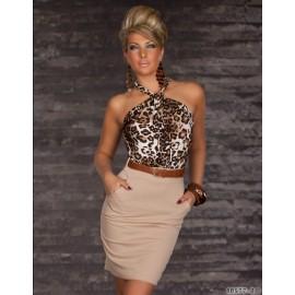 7 Colors   Fashion Women Sexy Leopard Printed Halter Bodycon Bandage Dress Mini Casual Dress 9014