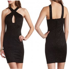 Brief Black Dress Halter Summer Dress   Fashion Women Clothing Elegant High Street Bodycon Dress Vestidos 9123