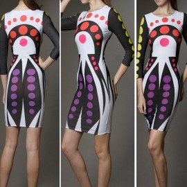Lady  Fashion Dot Printed Bandage Dress Patchwork High Street Summer Celebrity Casual Dress 4229