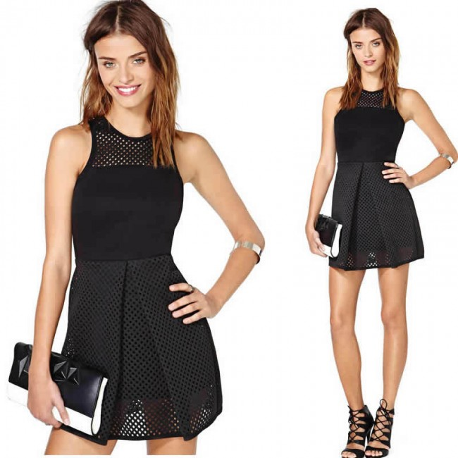Bandage Dress High Street Graceful Sleeveless Leather Vintage Summer Casual Mini Dress 9086