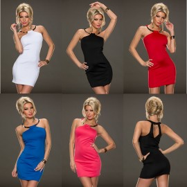 Fashion Women Sleeveless Metal Ring Halter Mini Bodycon Party Dress Casual Slimming Summer Dress 9090