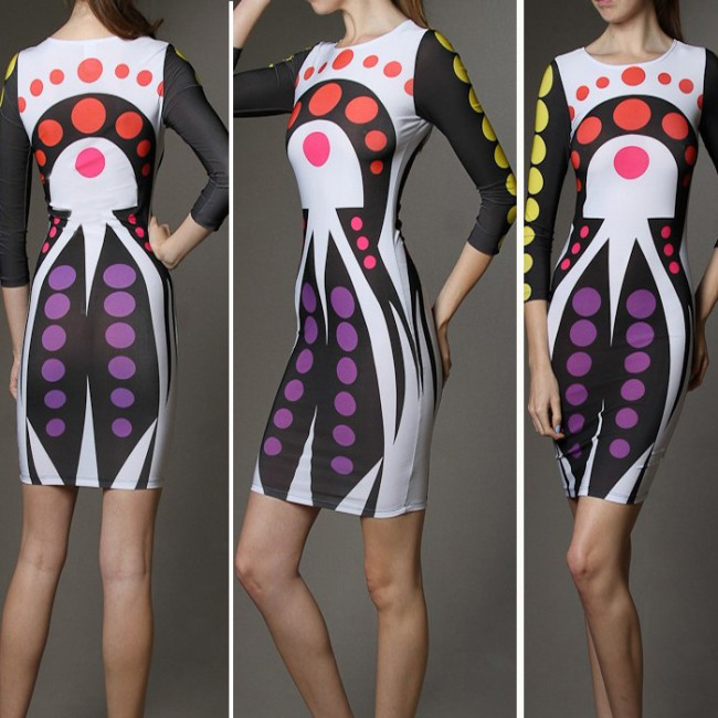 Fashion Women Vintage Printed Dress Lady  Summer Celebrity Bodycon Bandage Dress Sexy Party Dress 4229