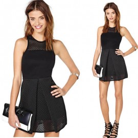 Sexy Women Bandage Dress Hollow Out  Evening Sleeveless Leather Vintage Summer  Mini  Party Dress 9086