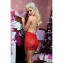 Fashion Women Sexy Full Lace Backless Halter Deep V Front Sheer Babydoll and Chemise Lingerie 8524