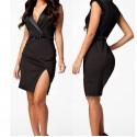 Fashion Women Black Notched Neckline OL Elegant Career Dress Women Work Wear Casual Dress with Belt 9030