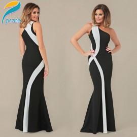 Novelty Elegant Sexy One Shoulder Dress  Brand  Long Maxi Dress Strip Striped Party Prom Dance Dance Dresses HW0271