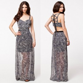 Novelty dresses Back Zip Up Hollow Out Sexy Chiffon Dress  Brand  Long Maxi Dress Zebra Pattern Party Dresses 9171
