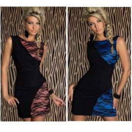 Plus Size   Fashion Women Dress Sleeveless Lace Patchwork Sexy Clubwear Mini Bandage Bodycon Pencil Party Dresses N109