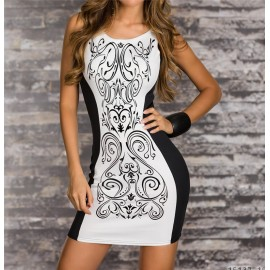 S M L XL XXL Plus Size   Fashion Black and White Patchwork Sleeveless Summer  Casual Dress Vintage Printed Dress 9023