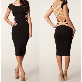 S-XXL Plus Size 2015 Summer Dress Women Vestidos De Festa Midi Bodycon Pencil Dress Bodycon Bandage Dress Sexy Club Dress 9050