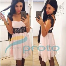 Sexy Party Dress    Lace Light Pink Chiffon Dress Sweet Lovely Summer Casual Dress Mini Hot Club Dress HW0172