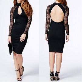 Vestidos Long Sleeve  Winter Dress   Fashion Black Dress Cutout Floral Lace Sleeve Celeb Sexy Vintage Party Dresses 9203
