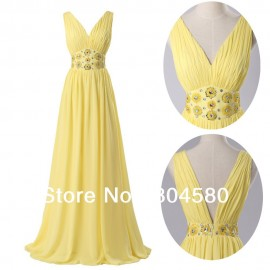 Fashion Design Deep V-Neck Chiffon Floor Length Celebrity Party Gown Evening Dresses  CL6014