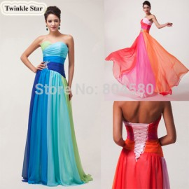 Hot Grace Karin  Colorful Chiffon Celebrity Dresses Long Prom Party Gown Formal Evening dress Stock CL6069