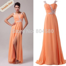 Floor-Length Beading Sweetheart Elegant Formal Evening Dress Lady Long prom party Chiffon Dresses CL6045