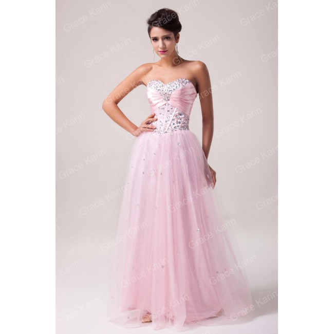 Grace Karin Stock Strapless Tulle Prom Gown Pink formal dresses evening party dress CL6042