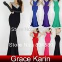 Sexy Women Deep V-Neck Backless Long Sheath Bandage Party Club Dress Beading Bodycon Evening Dresses CL6061