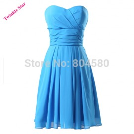 Sexy Stock Strapless Blue Chiffon Sweetheart short Party Dress Women Evening Dresses Formal Prom Gown  CL6053