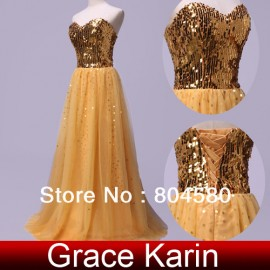 Design Cheap in Stock Beads Sequins Sweetheart Floor-length Evening Prom Dresses Long party Gown CL3459