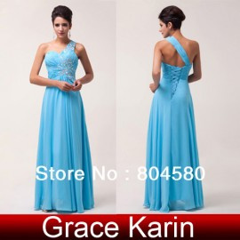Design Lady Charming Sexy Shinning One-shoulder Chiffon Prom Party Gown Beach Evening Long Dress Celebrity Gown CL6027