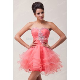 Fashion Stock Strapless Voile Ball Gown Short Evening Dress Sexy Party gown women Prom dresses CL6077 (AL12)