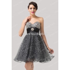 Grace Karin Knee length Strapless Black Tulle Party Gown Women Short prom dresses Formal Evening gowns Black CL6139