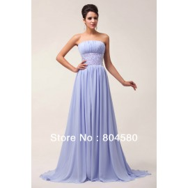Simple Long Pleated Bodice Lace Back Chiffon Prom Dress Women party gown Long Bridesmaid dresses CL6011
