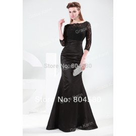 Grace Karin Stock 3/4 Sleeve Lace + Satin Long Mermaid Evening Dress Formal prom party Gown CL4524