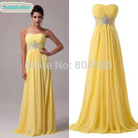 Grace Karin Strapless Chiffon Celebrity Dress Floor-Length Long Prom Gown Evening Dresses CL6002