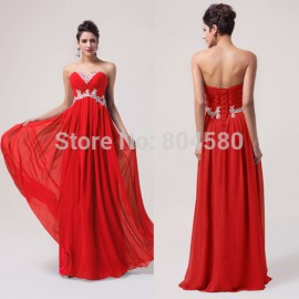 Stock  Beautiful Sleeveless Beading Red Carpet dresses Formal Evening party Gown long Prom dresses Blue Purple CL6003