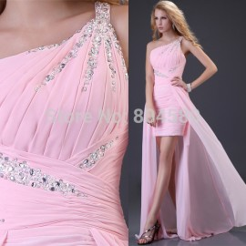 Grace Karin Sheath Bandage dress Sexy Stock One Shoulder Chiffon Party Gown Prom Ball Evening Dresses 8 Size CL3828