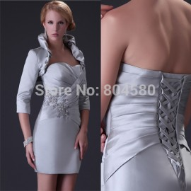 Sexy  Satin Grey Silver Color Party Prom Evening Dress + Long Sleevele bolero Short Mother of the bride dresses CL3826