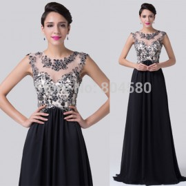 Elegant Applique Beaded Sexy See Through Celebrity dress Chiffon Prom Gown Floor Length Long Evening dresses Black CL6267