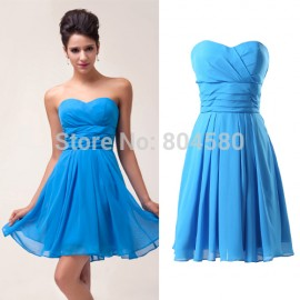 Hot Fashion Knee Length Sweetheart Chiffon Cocktail dresses fashionable Prom party dress short women summer gown CL6053