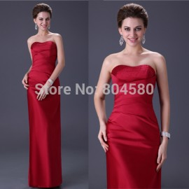 Hot Sale Beautiful Burgundy Girls Party Prom Gown Long Bandage Red Evening Dress Stock CL3142
