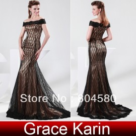 Hot Stock Off the Shoulder Lace Applique Fashion Evening Dresses Black Mermaid Prom Dresses Red Carpet Gown CL4471