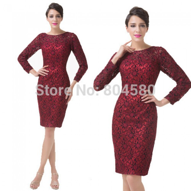 Sheath Short Lace Applique Mother of the Bride Dress Long Sleeve Evening Prom Party dresses Women CL6278