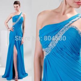 Stock Floor Length One shoulder Long Chiffon Blue Formal Evening dresses CL4947